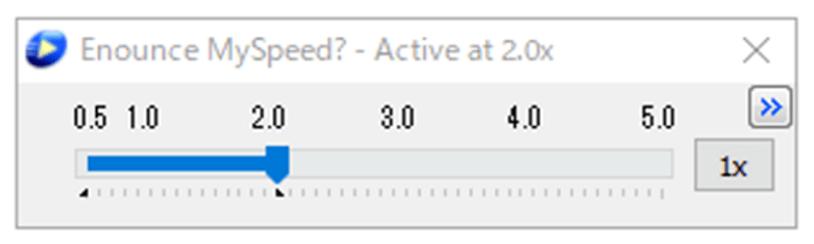 MySpeedの速度変更パネル