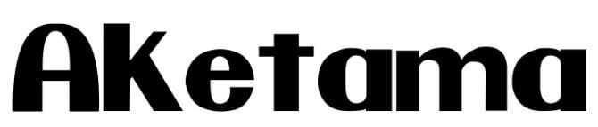 任天堂ロゴ風フォントで「AKETAMA」