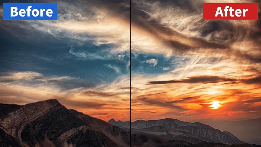 waifu2xの画像高画質化テスト(山と朝日)